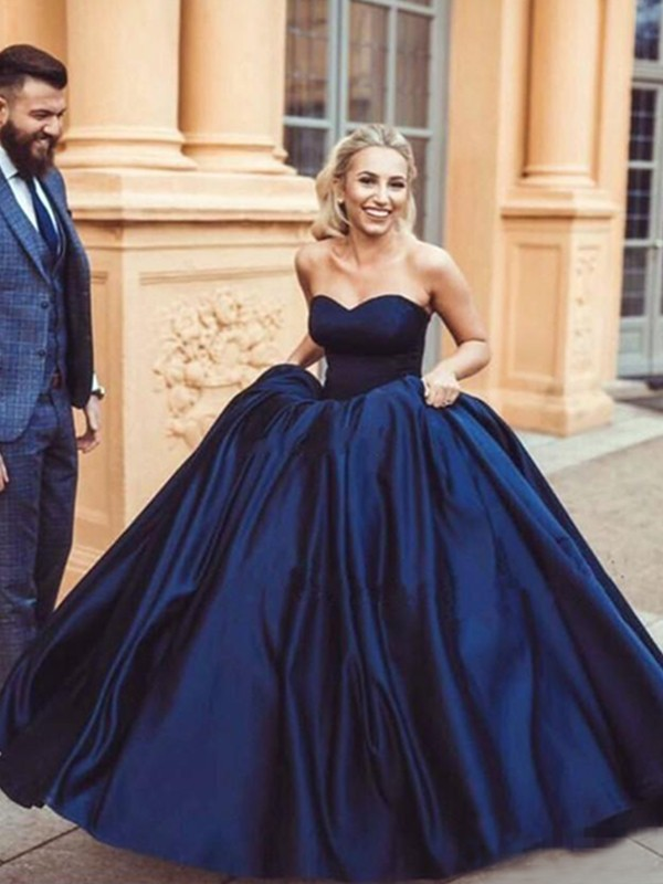 Dark Navy Satin Sweetheart Ball Gown Sweep/Brush Train Dresses