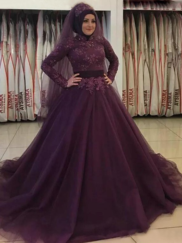 Grape Tulle High Neck Ball Gown Sweep/Brush Train Dresses