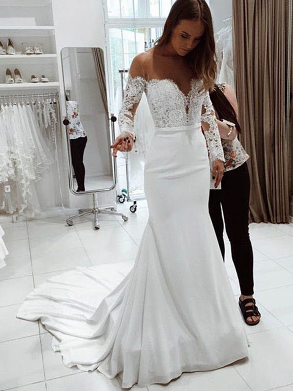 White Chiffon Off-the-Shoulder Trumpet/Mermaid Court Train Wedding Dresses