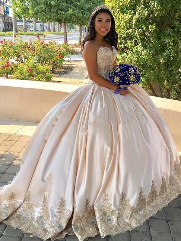 Pearl Pink Satin Sweetheart Ball Gown Sweep/Brush Train Dresses