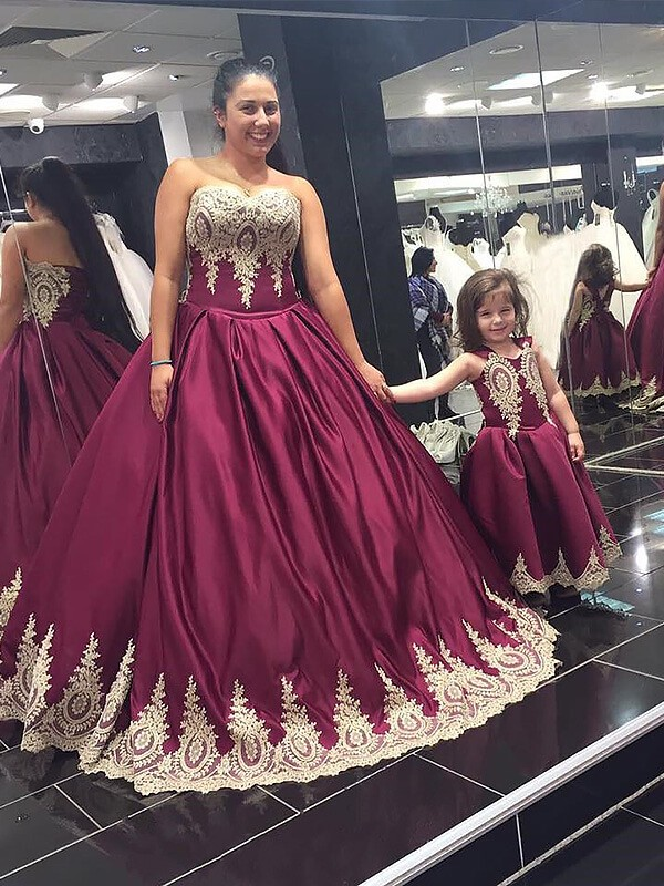 Burgundy Satin Sweetheart Ball Gown Floor-Length Plus Size Dresses