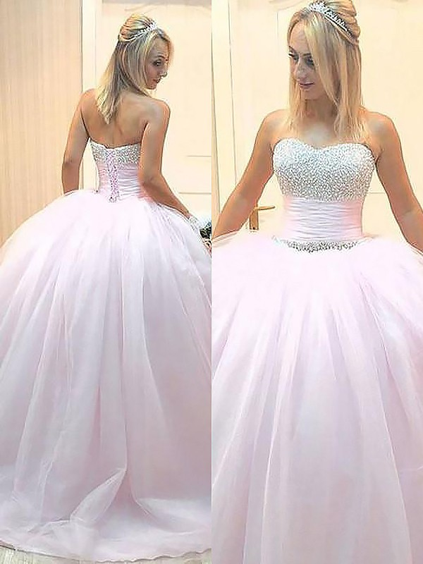 Pink Tulle Sweetheart Ball Gown Floor-Length Dresses
