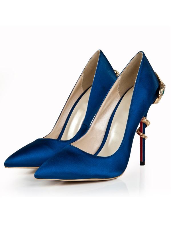 Bonnyin Royal Blue Pointed Toe High Heels
