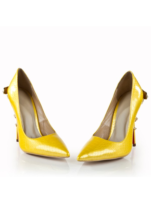 Bonnyin Yellow Patent Leather Pointed Toe High Heels