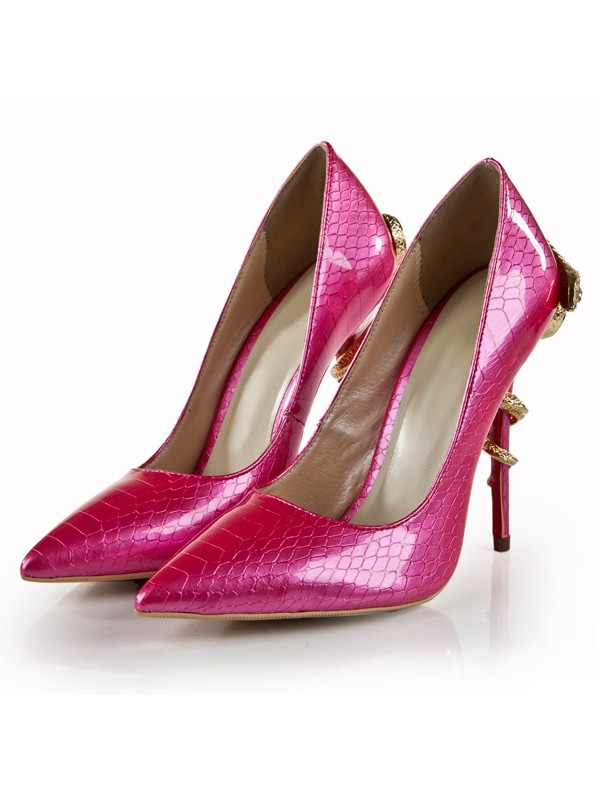 Bonnyin Fuchsia Snake Print Patent Leather Pointed Toe High Heels