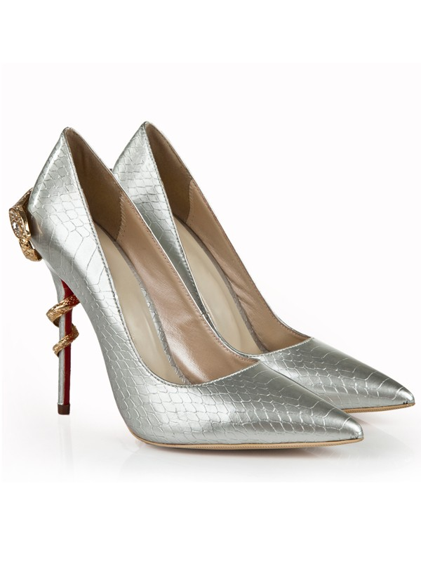 Bonnyin Silver Snake Print Patent Leather Pointed Toe High Heels