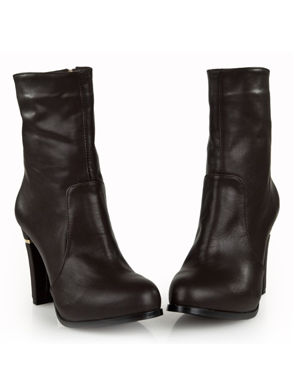 Bonnyin Thick Heel Cattlehide Leather Boots