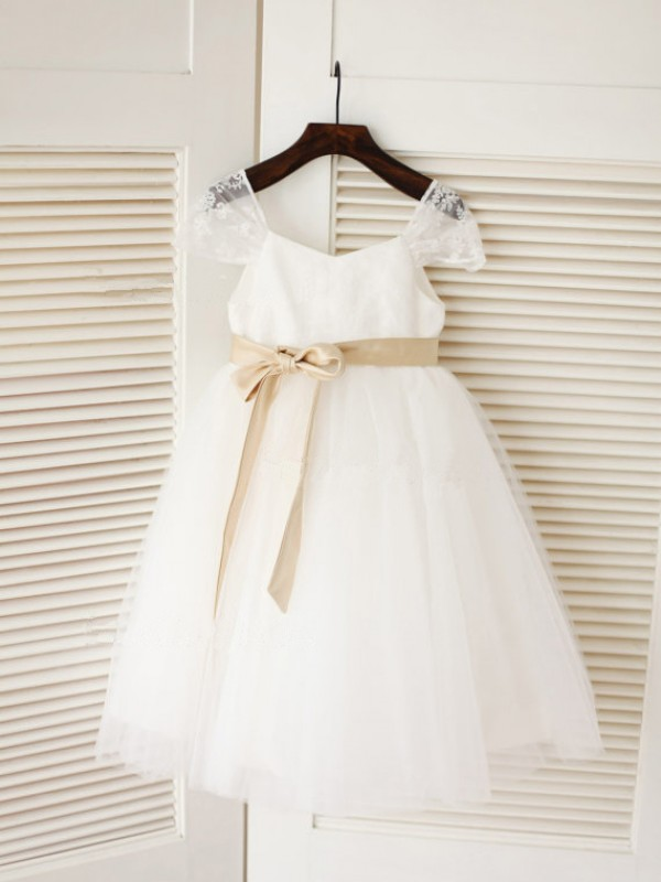 White Tulle Scoop Ball Gown Tea Length Flower Girl Dresses Bonnyin