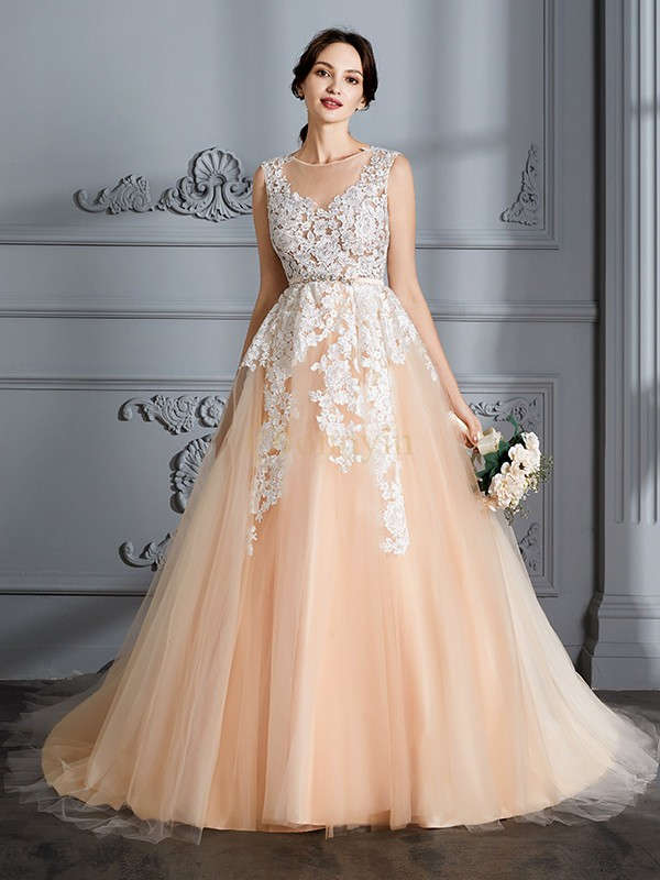 Champagne Tulle Scoop Ball Gown Court Train Wedding Dresses ...