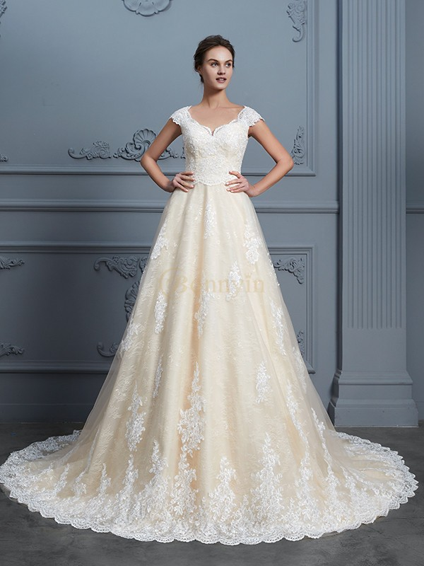 Champagne Lace Sweetheart Ball Gown Court Train Wedding Dresses ...