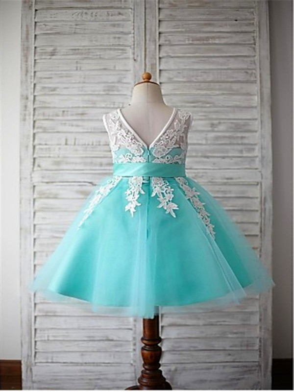 Blue Knee Length Flower Girl Dress
