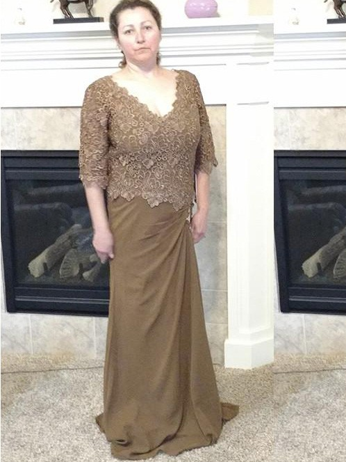 20f1f7fe614 Brown Chiffon V-neck Sheath Column Sweep Brush Train Mother of the Bride