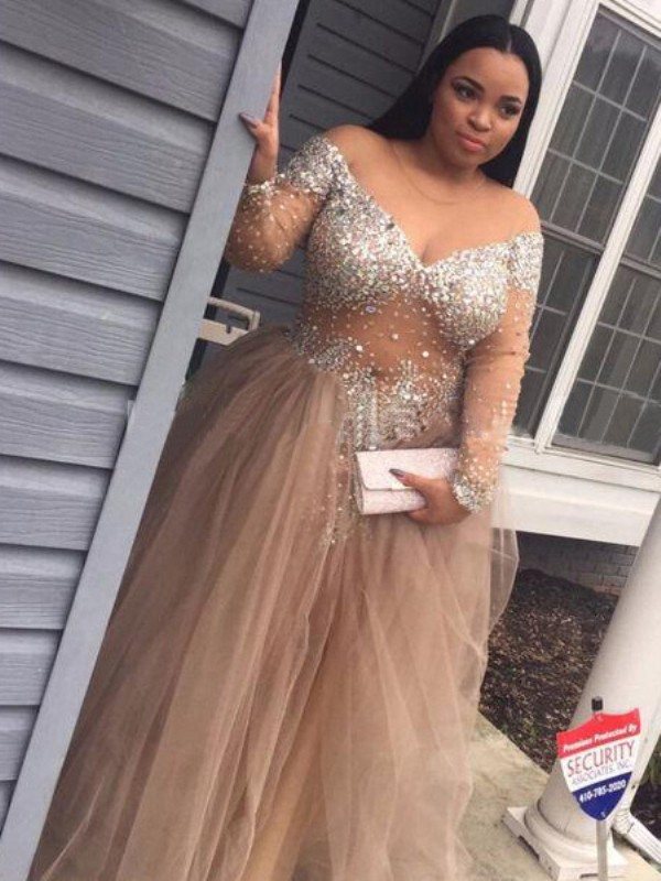 86201d846d89 Champagne Tulle Off-the-Shoulder Ball Gown Floor-Length Prom Dresses ...