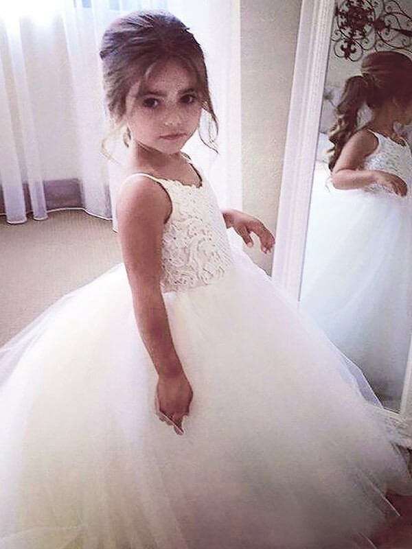 White Tulle Jewel Ball Gown Floor Length Flower Girl Dresses