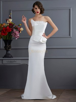 Ivory Satin Strapless Trumpet/Mermaid Sweep/Brush Train Dresses