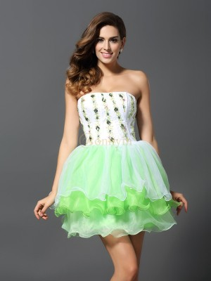 Sage Organza Strapless A-Line/Princess Short/Mini Dresses