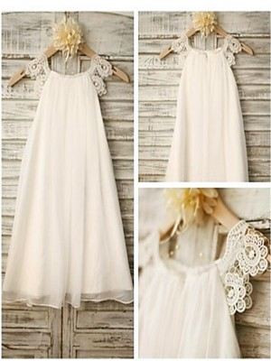 White Chiffon Scoop A-line/Princess Tea-Length Flower Girl Dresses