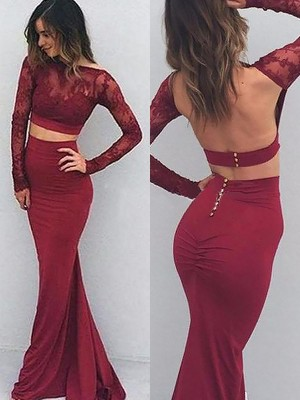 Burgundy Satin Bateau Trumpet/Mermaid Floor-Length Prom Dresses
