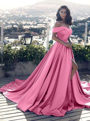 Pink Satin Off-the-Shoulder A-Line/Princess Court Train Dresses