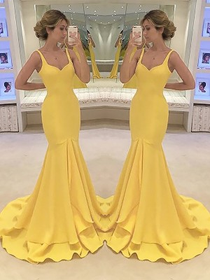 Daffodil Satin Spaghetti Straps Trumpet/Mermaid Sweep/Brush Train Dresses