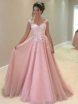 Pink Tulle Sweetheart A-Line/Princess Floor-Length Dresses