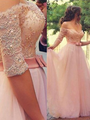 Pink Tulle Off-the-Shoulder A-Line/Princess Floor-Length Dresses