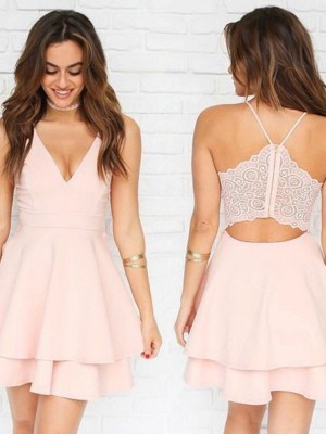 Pink Chiffon V-neck A-Line/Princess Short/Mini Dresses