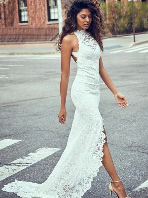 White Lace Halter Trumpet/Mermaid Sweep/Brush Train Wedding Dresses