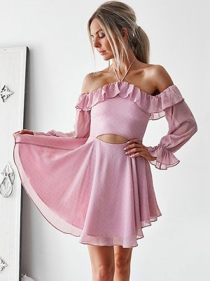 Pink Chiffon Off-the-Shoulder A-Line/Princess Short/Mini Dresses