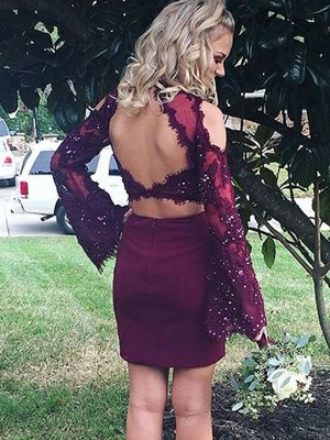 Burgundy Satin Scoop Sheath/Column Short/Mini Two Piece Dresses
