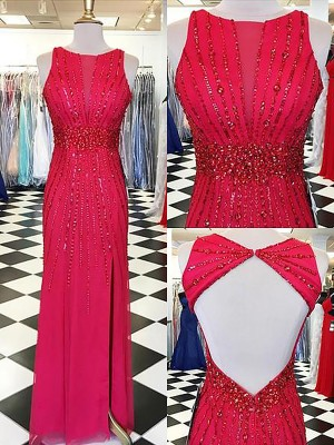 Red Chiffon Bateau Sheath/Column Floor-Length Dresses