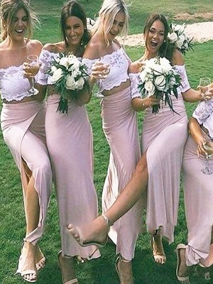 Pink Jersey Off-the-Shoulder Sheath/Column Floor-Length Bridesmaid Dresses