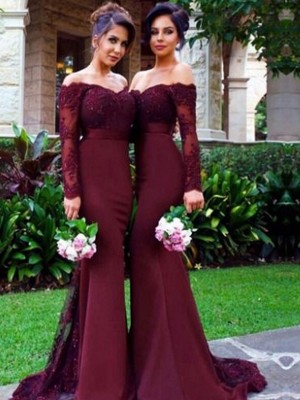 Burgundy Satin Off-the-Shoulder Trumpet/Mermaid Sweep/Brush Train Bridesmaid Dresses