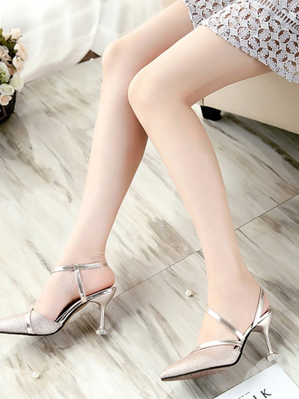 Women PU Stiletto Heel Closed Toe Sandals