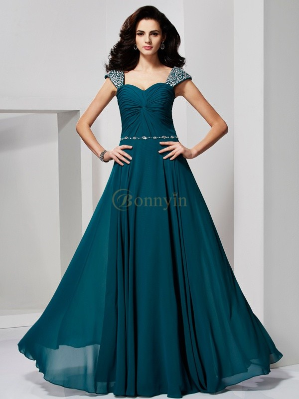 Hunter Green Chiffon Sweetheart Off the Shoulder A-Line/Princess Floor-Length Dresses