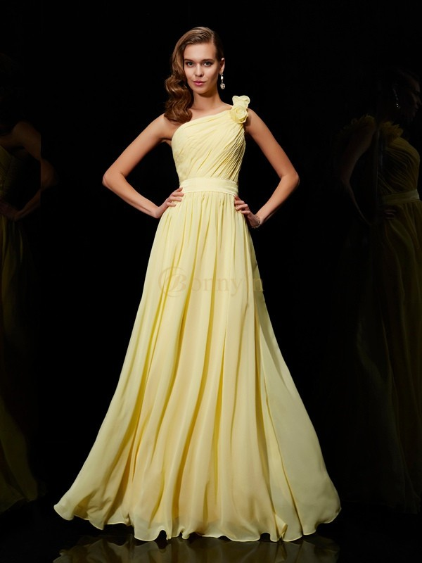 Daffodil Chiffon One-Shoulder A-Line/Princess Floor-Length Bridesmaid Dresses