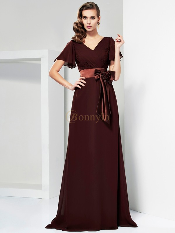 Chocolate Chiffon V-neck A-Line/Princess Sweep/Brush Train Dresses