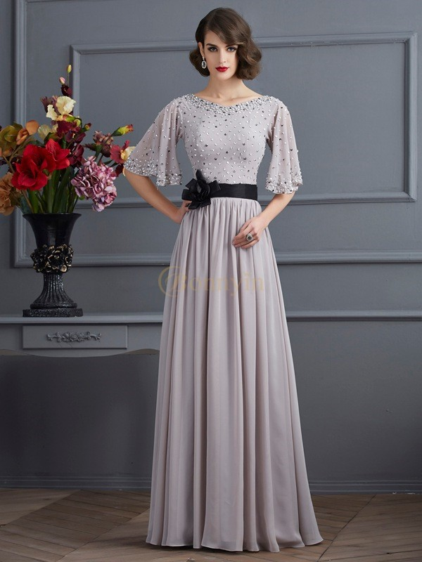 Silver Chiffon High Neck A-Line/Princess Floor-Length Dresses