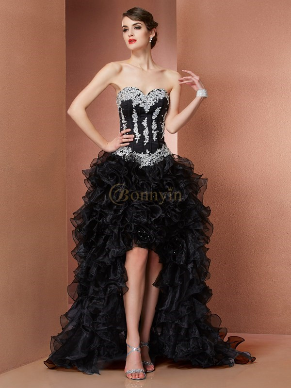 Black Organza Sweetheart A-Line/Princess Asymmetrical Dresses