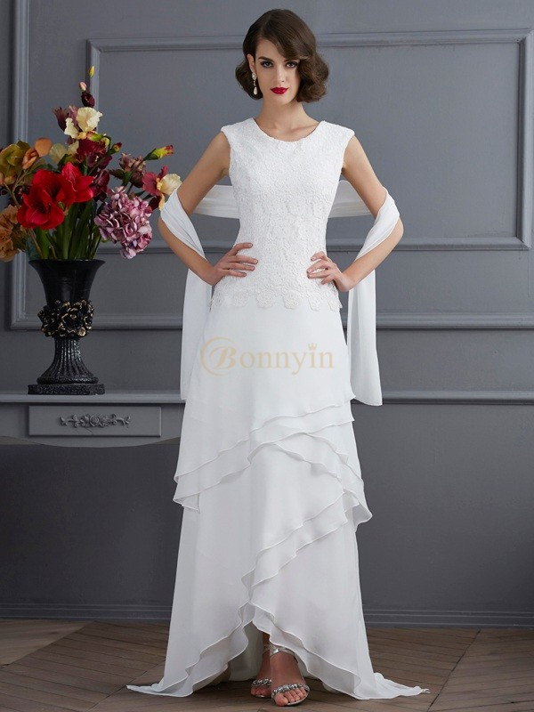 Ivory Chiffon Bateau Sheath/Column Asymmetrical Dresses