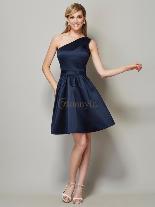 Dark Navy Satin One-Shoulder A-Line/Princess Short/Mini Bridesmaid Dresses