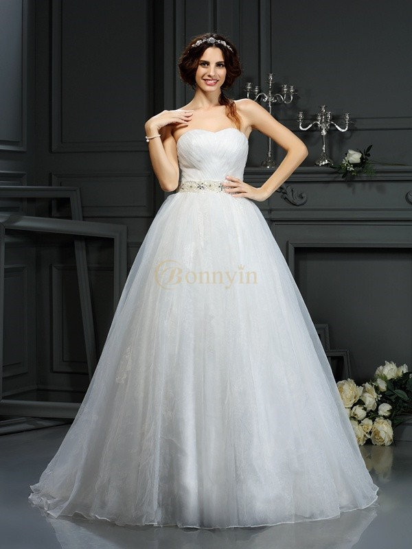 Ivory Organza Sweetheart A-Line/Princess Court Train Wedding Dresses