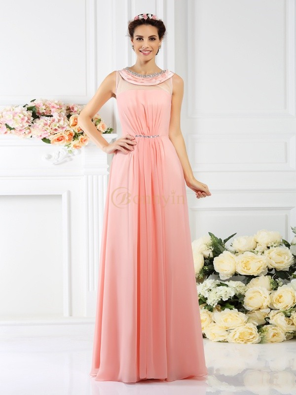 Pink Chiffon Bateau A-Line/Princess Floor-Length Bridesmaid Dresses