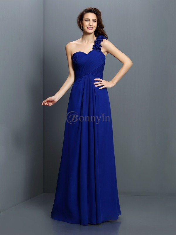 Royal Blue Chiffon One-Shoulder A-Line/Princess Floor-Length Bridesmaid Dresses