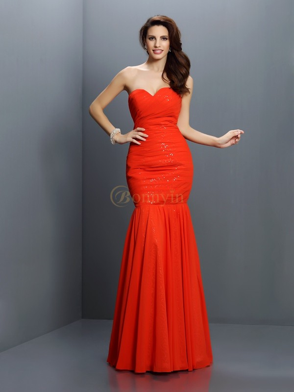Red Chiffon Sweetheart Trumpet/Mermaid Floor-Length Bridesmaid Dresses