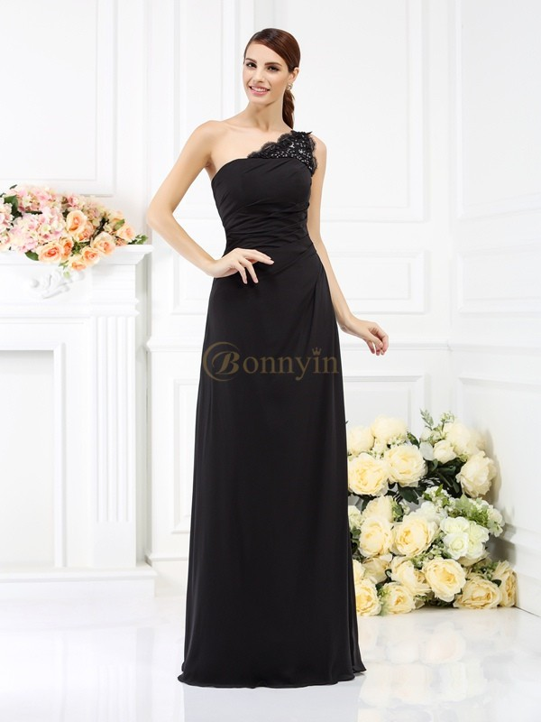 Black Satin One-Shoulder Sheath/Column Floor-Length Bridesmaid Dresses