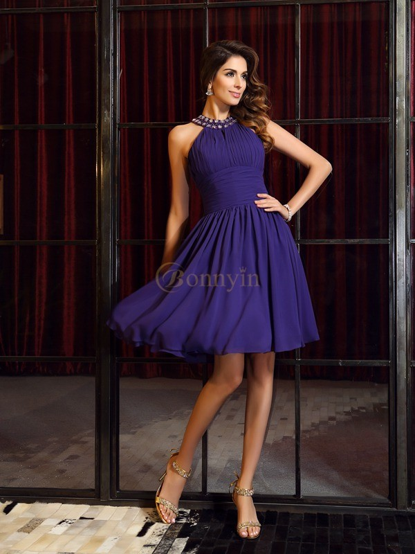 Regency Chiffon High Neck A-Line/Princess Knee-Length Bridesmaid Dresses