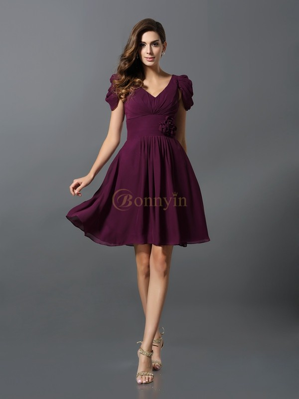 Grape Chiffon V-neck A-Line/Princess Short/Mini Bridesmaid Dresses