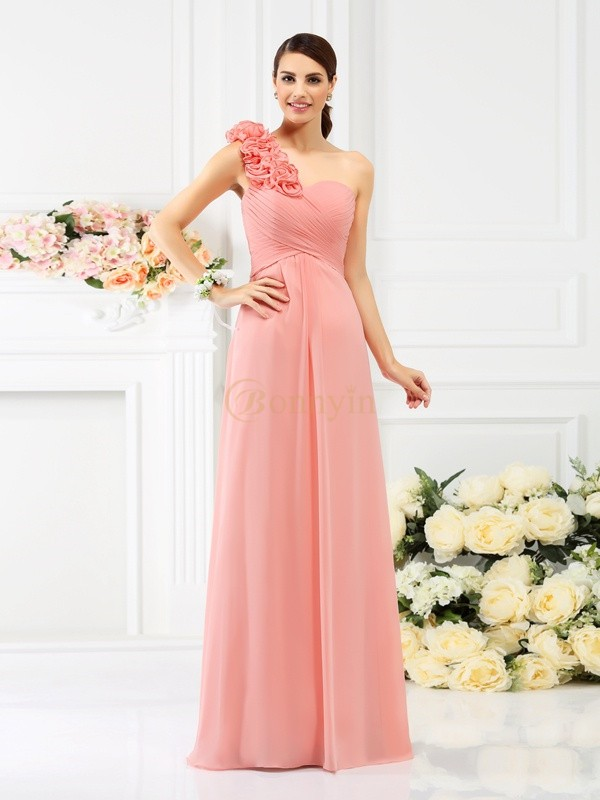 Pink Chiffon One-Shoulder A-Line/Princess Floor-Length Bridesmaid Dresses