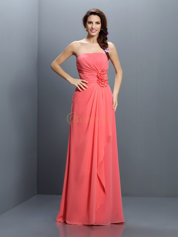 Watermelon Chiffon Strapless A-Line/Princess Floor-Length Bridesmaid Dresses